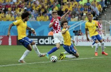 Brazil's Marcelo scores the first (own) goal of the 2014 World Cup