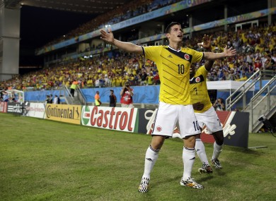 James Rodriguez celebrates his goal in Cuiaba.