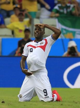 Costa Rica's Joel Campbell celebrates scoring.