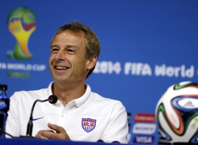 United States' head coach Jurgen Klinsmann attends a press conference before a training session in Recife last night.