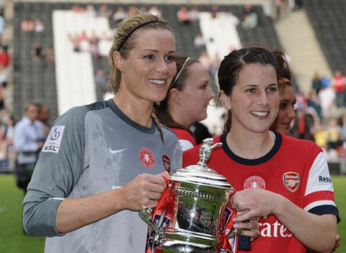 Ireland's Emma Byrne and Niamh Fahey with the FA Cup.