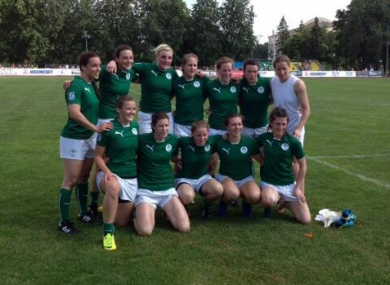 The Irish team pose for a post-match picture in Moscow.
