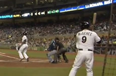 Ouch! Ouch! Ouch! Broken baseball bat flies into player waiting behind the plate
