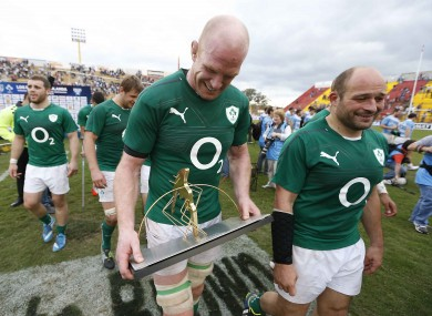 Paul O'Connell and Rory Best look somewhat bemused with their new trophy.