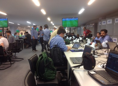 A scene from a non-invaded press room in Brazil.