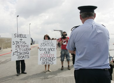Locals and Shell to Sea protestors show a display for support at the fish port of Ballyglass in Co. Mayo.