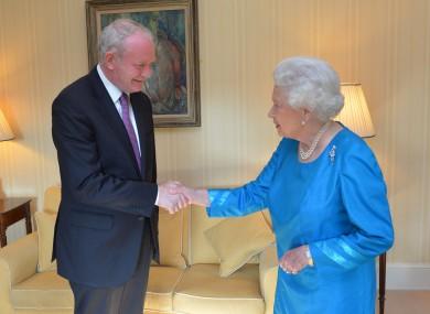 Martin McGuinness meets Queen Elizabeth at Hillsborough Castle in Belfast last night.