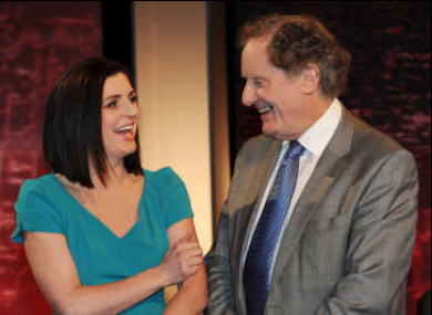 Collette Fitzpatrick and Vincent Browne of TV3 share a chortle.