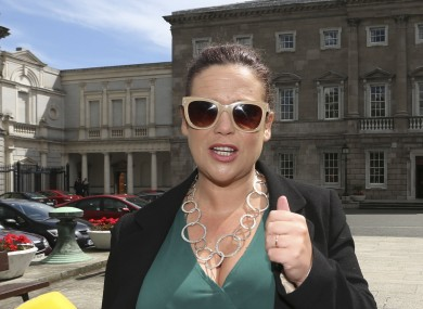Mary Lou McDonald in the sunshine outside Leinster House this week