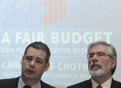 Pearse Doherty and Gerry Adams launching Sinn Féin's pre-Budget submission last year