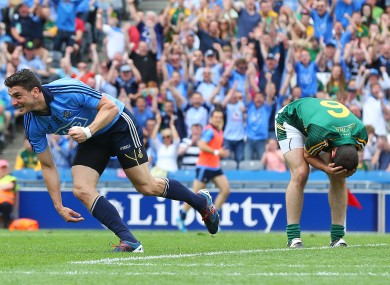 Bernard Brogan celebrates Dublin's opening goal.