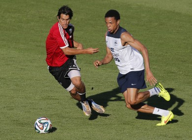 Loic Remy in training for France during the World Cup.