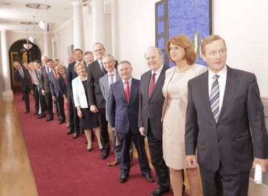 The new Cabinet preparing to enter the Dáil chamber earlier