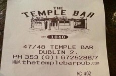 This Temple Bar receipt caused quite a stir in Ireland today