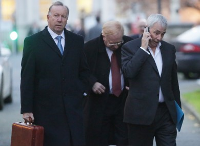 David Martin, former CRC Director; James Nugent, former Chairperson, and former CEO Paul Kiely leave a Public Accounts Committee meeting in December 2013.