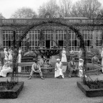 Convalescent British soldiers and their nurses enjoy the gardens at Longleat, Wiltshire, the country seat of the Marquis of Bath, while it was being used as a Relief Hospital during the First World War.<span class=