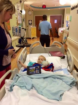 Gavin in his hospital bed