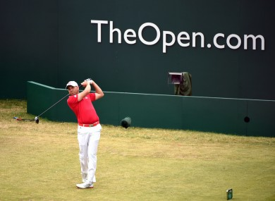 Sergio Garcia tees off on the 1st hole during day two of the 2014 Open Championship.