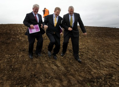 Taoiseach Enda Kenny, ex-Tánaiste Eamon Gilmore and David Conway of the National Sports Campus at the launch of Construction 2020.