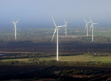 File photo of wind turbines at Bruckana on the borders of Laois, Tipperary and Kilkenny.
