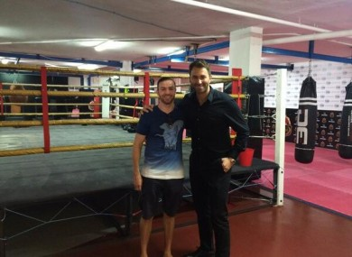 Macklin and Hearn in the MGM Marbella gym yesterday.