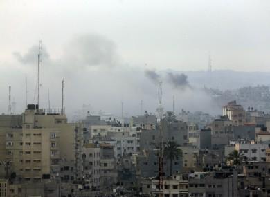 Smoke from Israeli strikes rises over Gaza City.