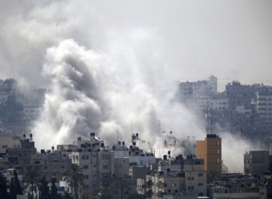 Smoke from an Israeli strike rises over Gaza City.