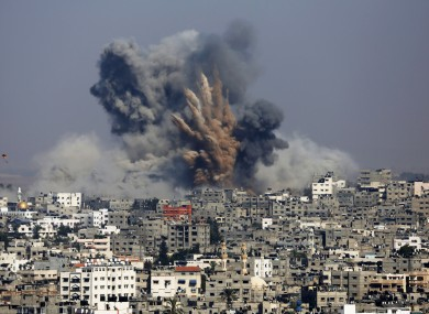 Smoke and fire from the explosion of an Israeli strike rise