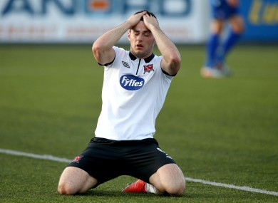 Patrick Hoban reacts to a missed chance for Dundalk.