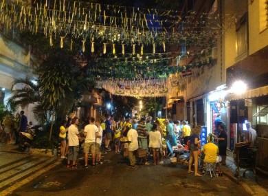 Brazilian fans congregate at the bar on Rua Edmundo Lins.