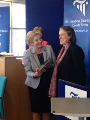 Justice Minister Frances Fitzgerald (L) with Chief Justice Susan Denham at the presentation of the Courts Service Annual Report.