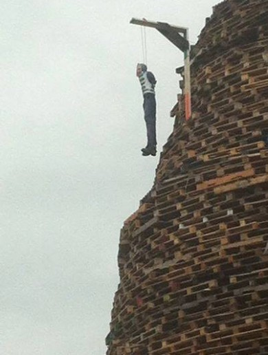 Condemnation after lynched figure depicting Gerry Adams placed on loyalist bonfire
