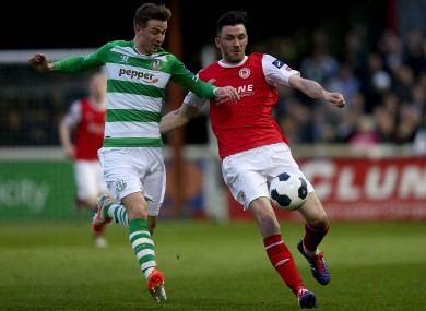 Shamrock Rovers midfiedler Ronan Finn and Killian Brennan of St Patrick's Athletic.