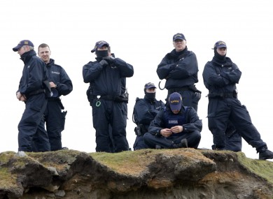 File photo of Public Order branch Gardai a beach in Mayo, 2009, during protests over pipelaying at the project.