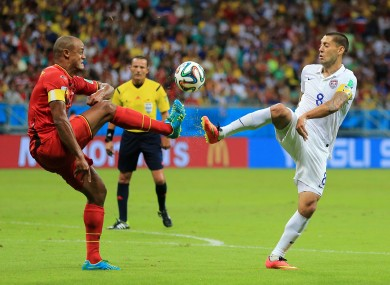 Belgium's Vincent Kompany (left) and USA's Clint Dempsey.