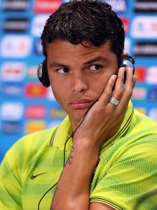 Brazil's Thiago Silva during the press conference at Estadio Mineirao, Belo H