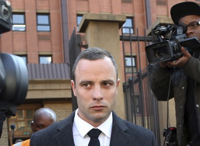 Oscar Pistorius leaves the high court in Pretoria.