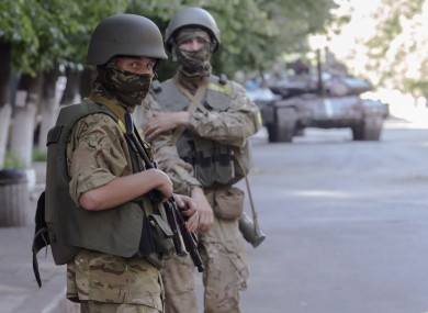 Ukrainian government army soldiers patrol the city of Slovyansk, Donetsk Region, eastern Ukraine.