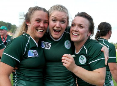 Ashleigh Baxter, Vikki McGinn and Lynne Cantwell celebrate their win.