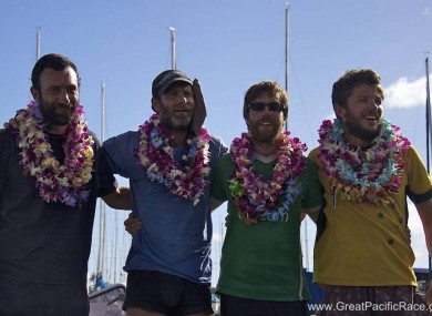 Cavanagh and his teammates pictured upon finishing their journey.