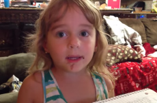 Little girl tries to convince mam she didn't eat a doughnut…with chocolate all over her face