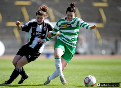 A file photo of Raheny's Clare Shine (L) who scored twice for the club against NSA Sofia in their Champions League clash today.