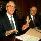 John Major and Reynolds in Downing Street for the signing of the joint declaration on the north in 1993. <span class=