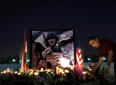A memorial to US journalist James Foley, in Irbil, Iraq.