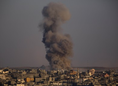 Smoke rises after an Israeli airstrike in Gaza City.