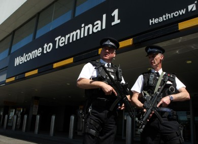 Armed police at Heathrow. (File photo)