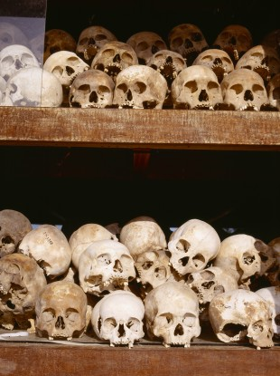 Killing Fields Memorial Stupa containing skulls of victims of the Khmer Rouge.