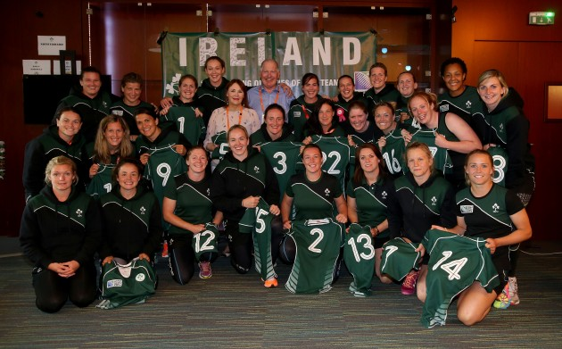 PJ Reilly and Marie Reilly with the Irish team after presenting the jersey's