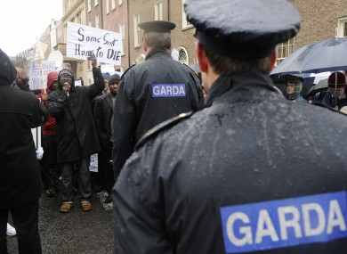 Gardaí at a Residents Against Racism Demonstration in 2010.