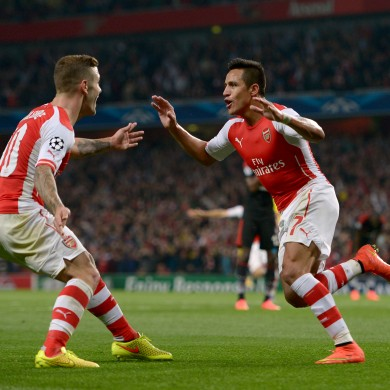 Sanchez celebrates his first goal for the English club.
